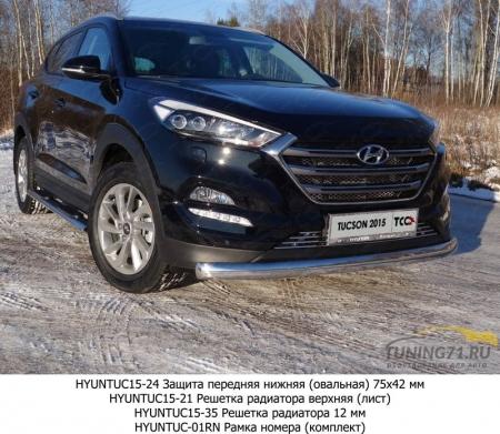 Hyundai Tucson 2015 Защита передняя нижняя (овальная) 75х42 мм