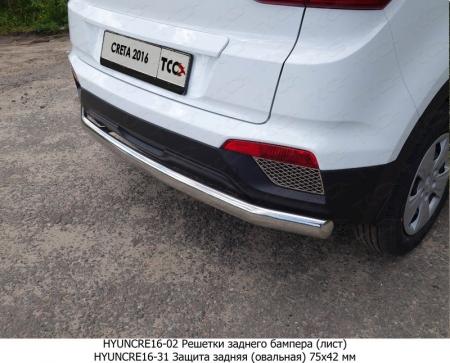 Hyundai Creta 2016-Защита задняя (овальная) 75х42 мм