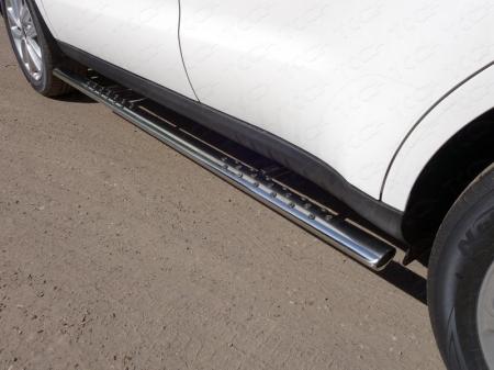 Kia Soul 2017-Пороги овальные с проступью 75х42 мм
