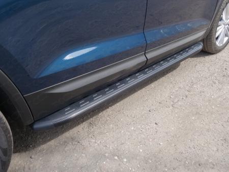 Skoda Kodiaq 2017-Пороги алюминиевые с пластиковой накладкой (карбон черные) 1820 мм