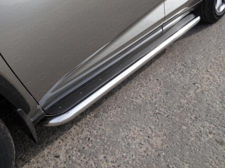 Lexus NX 200 2017-Пороги с площадкой (нерж. лист) 60,3 мм